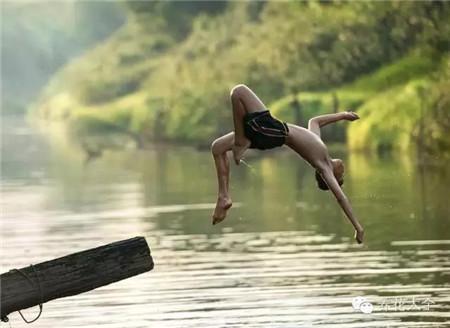 河边的一截枯木成了完美的跳水台