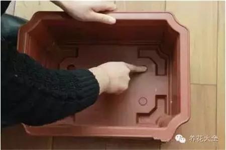 将盆底的四个排水小孔打开。